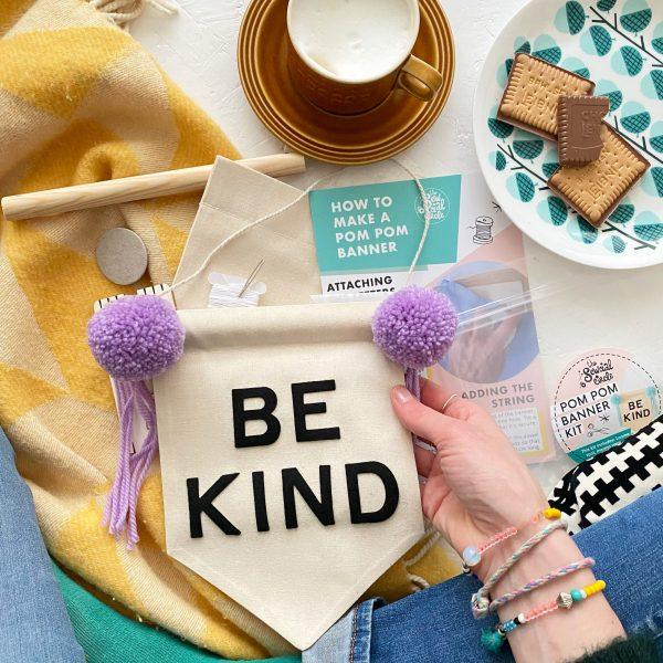 pom pom banner kit 'be kind'