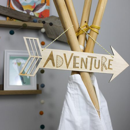Wooden adventure arrow on string by Dotty Black on acorn and pip loves