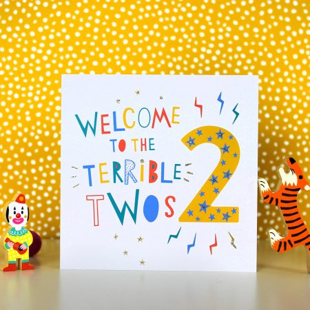 welcome to the terrible twos birthday card by dotty black on acorn and pip loves