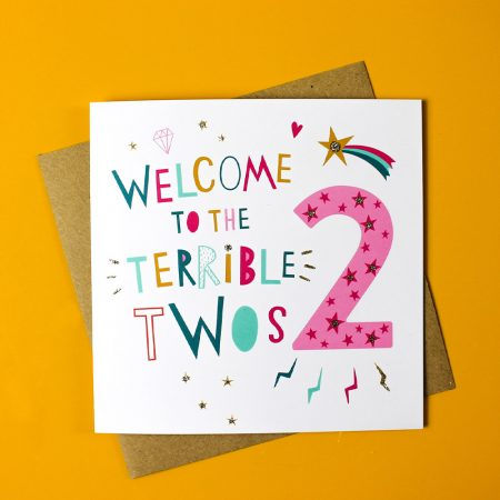 Welcome to the terrible twos age 2 card by dotty black on acorn and pip loves