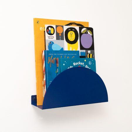 book rail and shelf in cobalt blue