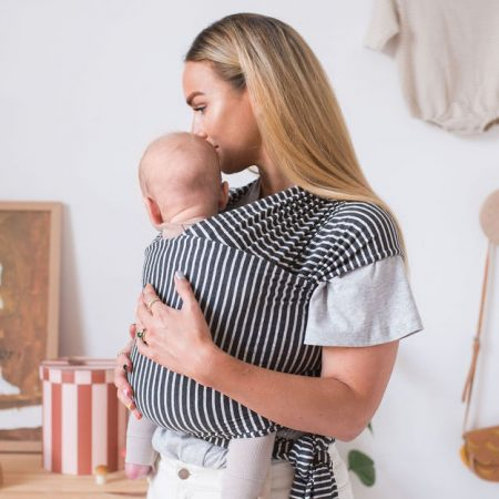 Charcoal Stripe baby wrap by Smallhausen on Acorn & Pip Loves