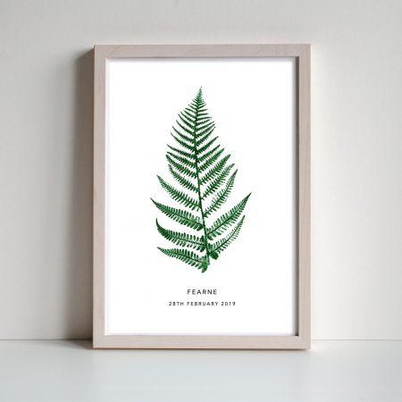 Botanical Fern personalised print for nursery by print ninteen on acorn and pip loves