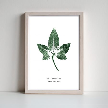 ivy leaf personalised print by print nineteen on acorn and pip loves