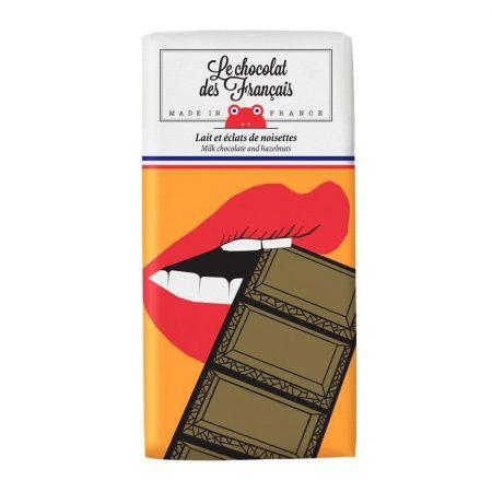 Le Chocolat Des Français – Organic Milk Chocolate With Hazelnuts 80g Bar (41% Cocoa) – Bouche