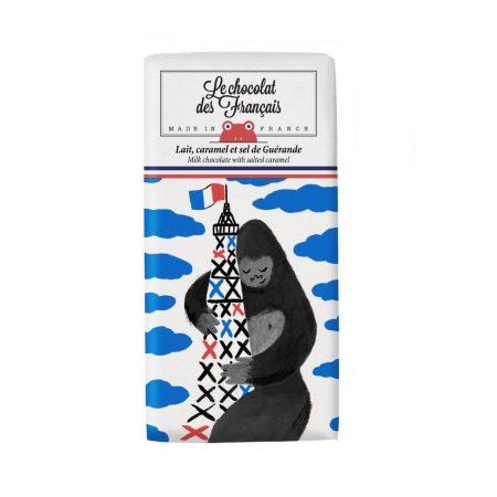 Le Chocolat Des Français – Organic Milk Chocolate With Salted Caramel 80g Bar (41% Cocoa) – King Kong