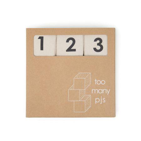 Handmade organic cotton sensory alphabet blocks set of nine by too many pjs on a white background
