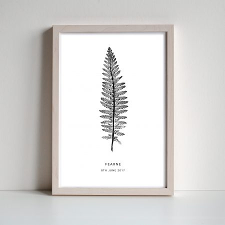 Personalised fern monoprint by Print Nineteen on Acorn and Pip Loves