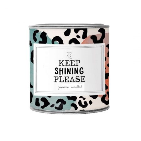 The Gift Label – Jasmine Vanilla Large Scented Candle Tin (Keep Shining Please)