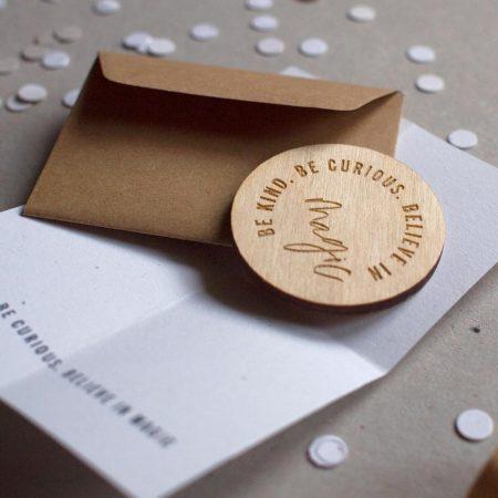 wooden gift token