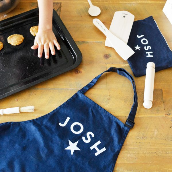 personalised apron baking set by two stories gifts on acorn and pip loves