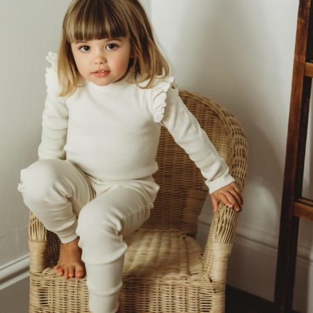 Organic rib lounge set cream girls little dot to dot acorn and pip