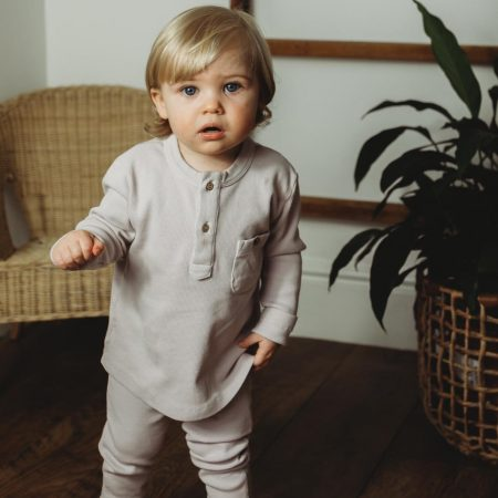 organic boys rib loungewear set grey little dot to dot acorn and pip loves