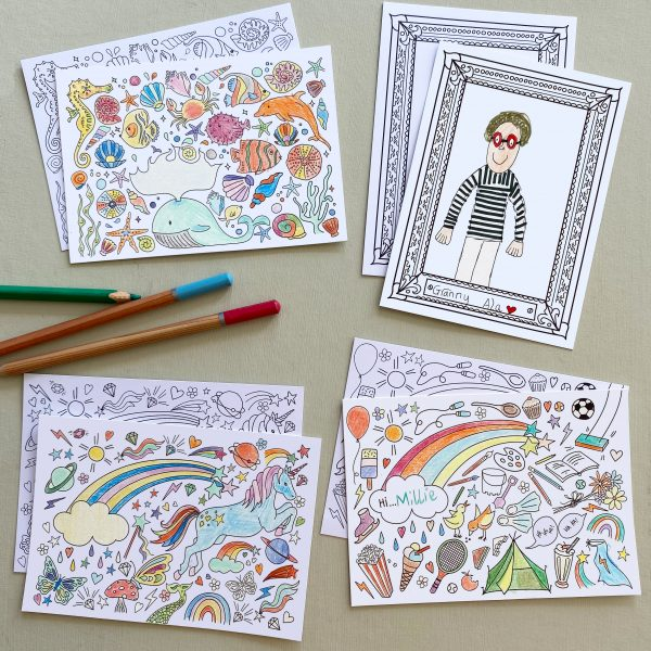 Mixed theme colouring postcard set from Fearless Flamingo on Acorn & Pip Loves