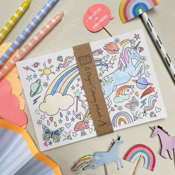 Magical colouring postcards by fearless flamingo on Acorn & Pip loves