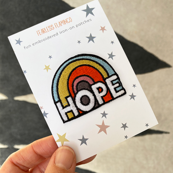 Hope iron on patch by Fearless Flamingo on Acorn & Pip Loves
