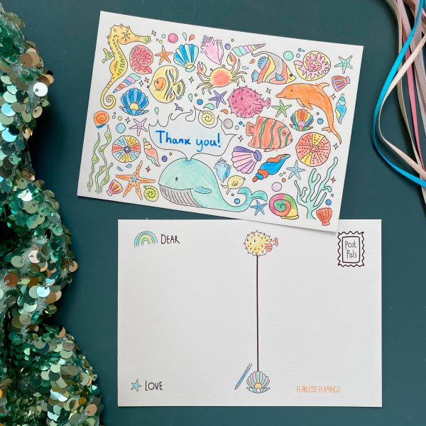 Ocean themed colouring postcards by Fearless fLamingo on Acorn & Pip Loves