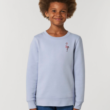 tommy & lottie organic cotton flamingo kids unisex sweatshirt - serene blue