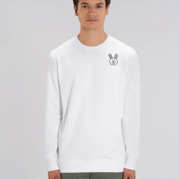 tommy and lottie adults organic bunny sweatshirt - white