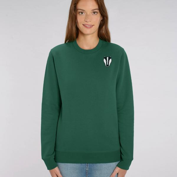 tommy and lottie adults organic cotton badger sweatshirt - bottle green