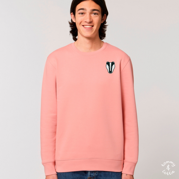 tommy and lottie adults organic cotton badger sweatshirt - canyon pink