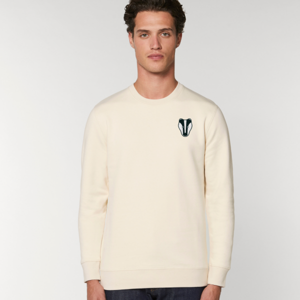 tommy and lottie adults organic cotton badger sweatshirt - natural