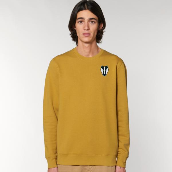 tommy and lottie adults organic cotton badger sweatshirt - ochre