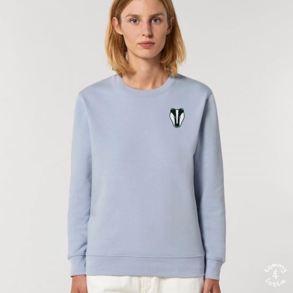 tommy and lottie adults organic cotton badger sweatshirt - serene blue