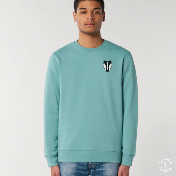 tommy and lottie adults organic cotton badger sweatshirt - teal monstera