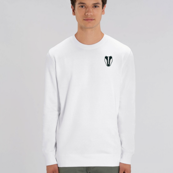 tommy and lottie adults organic cotton badger sweatshirt - white
