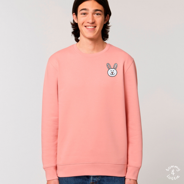 tommy and lottie adults organic cotton bunny sweatshirt - canyon pink