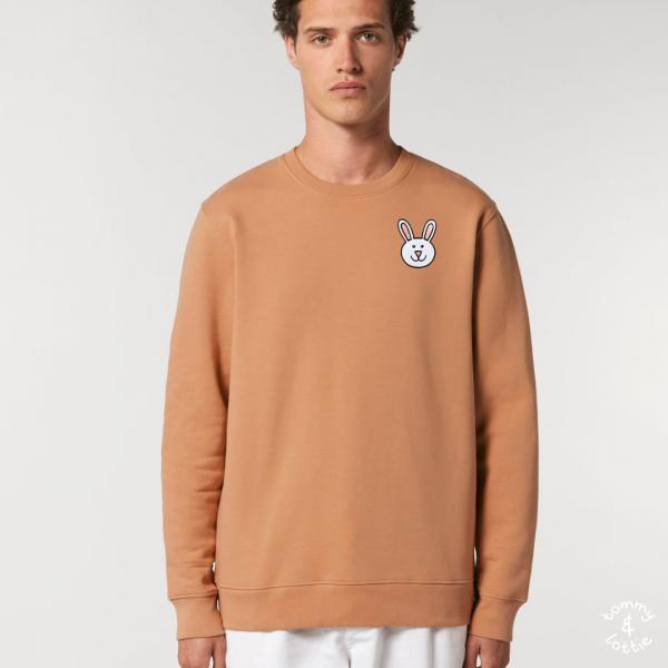 tommy and lottie adults organic cotton bunny sweatshirt - mushroom