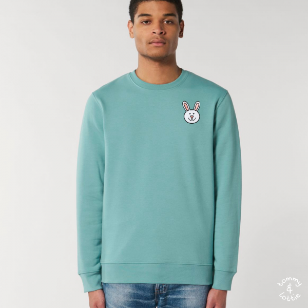 tommy and lottie adults organic cotton bunny sweatshirt - teal monstera