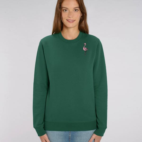 tommy and lottie adults organic cotton flamingo sweatshirt - bottle green