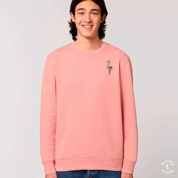tommy and lottie adults organic cotton flamingo sweatshirt - canyon pink