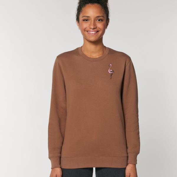 tommy and lottie adults organic cotton flamingo sweatshirt - caramel
