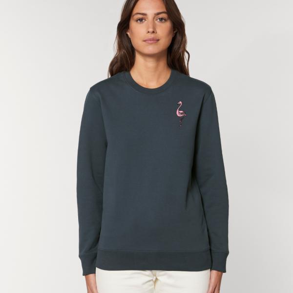 tommy and lottie adults organic cotton flamingo sweatshirt - ink grey