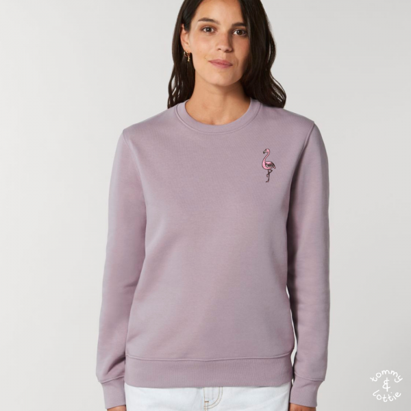 tommy and lottie adults organic cotton flamingo sweatshirt - lilac petal