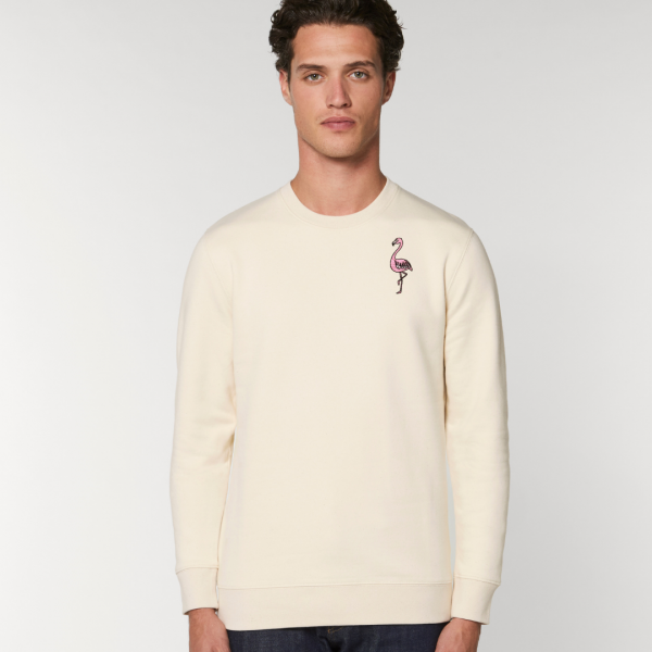 tommy and lottie adults organic cotton flamingo sweatshirt - natural