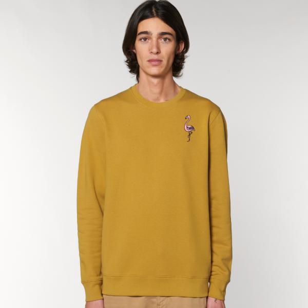 tommy and lottie adults organic cotton flamingo sweatshirt - ochre