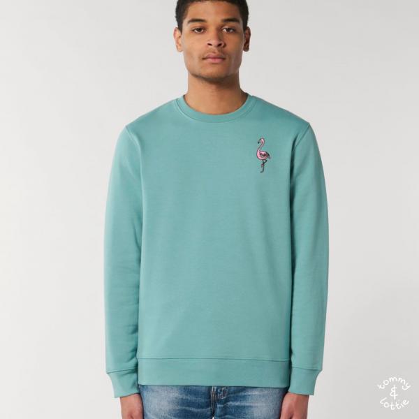 tommy and lottie adults organic cotton flamingo sweatshirt - teal monstera
