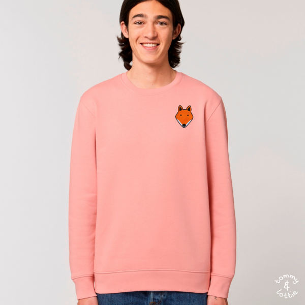 tommy and lottie adults organic cotton fox sweatshirt - canyon pink