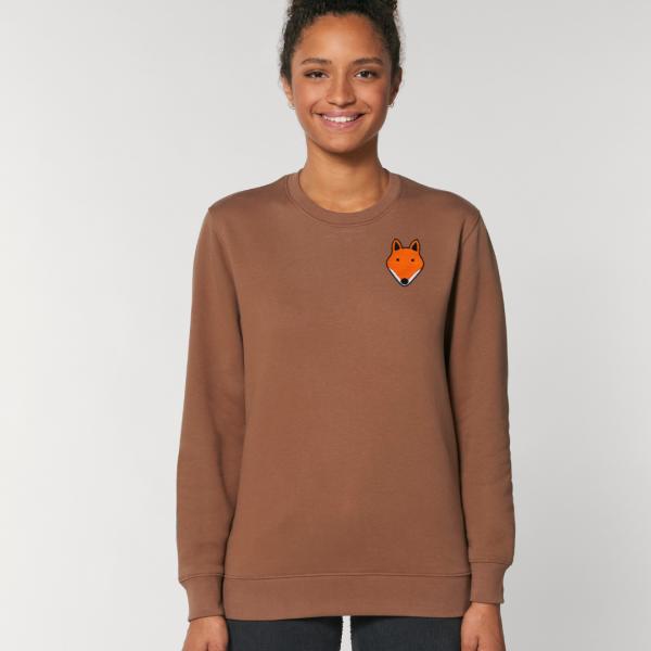 tommy and lottie adults organic cotton fox sweatshirt - caramel