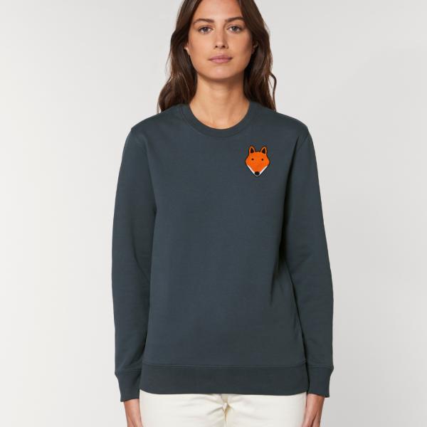 tommy and lottie adults organic cotton fox sweatshirt - ink grey - Copy
