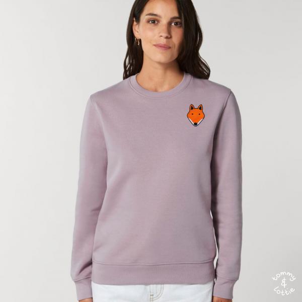 tommy and lottie adults organic cotton fox sweatshirt - lilac petal - Copy