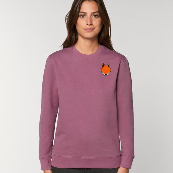 tommy and lottie adults organic cotton fox sweatshirt - mauve
