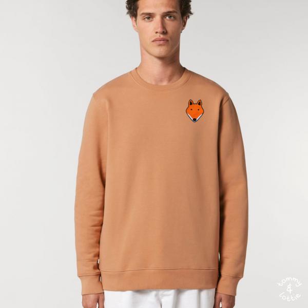 tommy and lottie adults organic cotton fox sweatshirt - mushroom