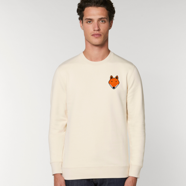 tommy and lottie adults organic cotton fox sweatshirt - natural