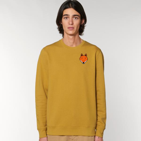 tommy and lottie adults organic cotton fox sweatshirt - ochre