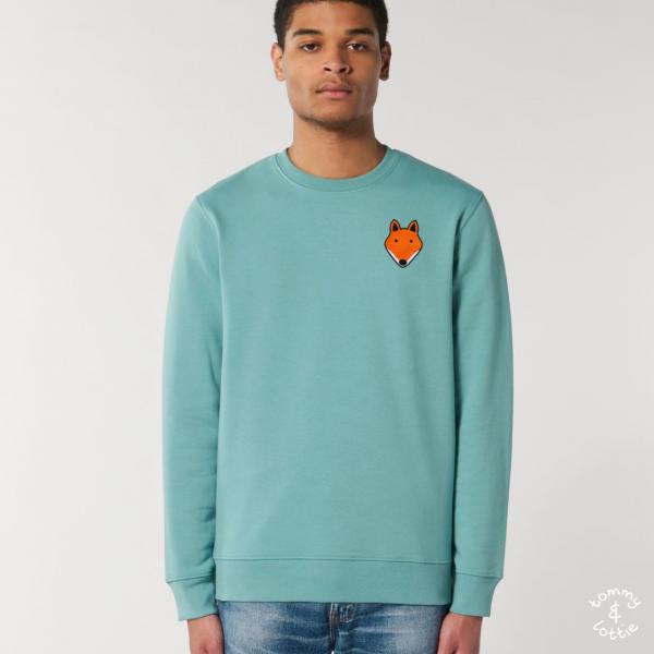 tommy and lottie adults organic cotton fox sweatshirt - teal monstera